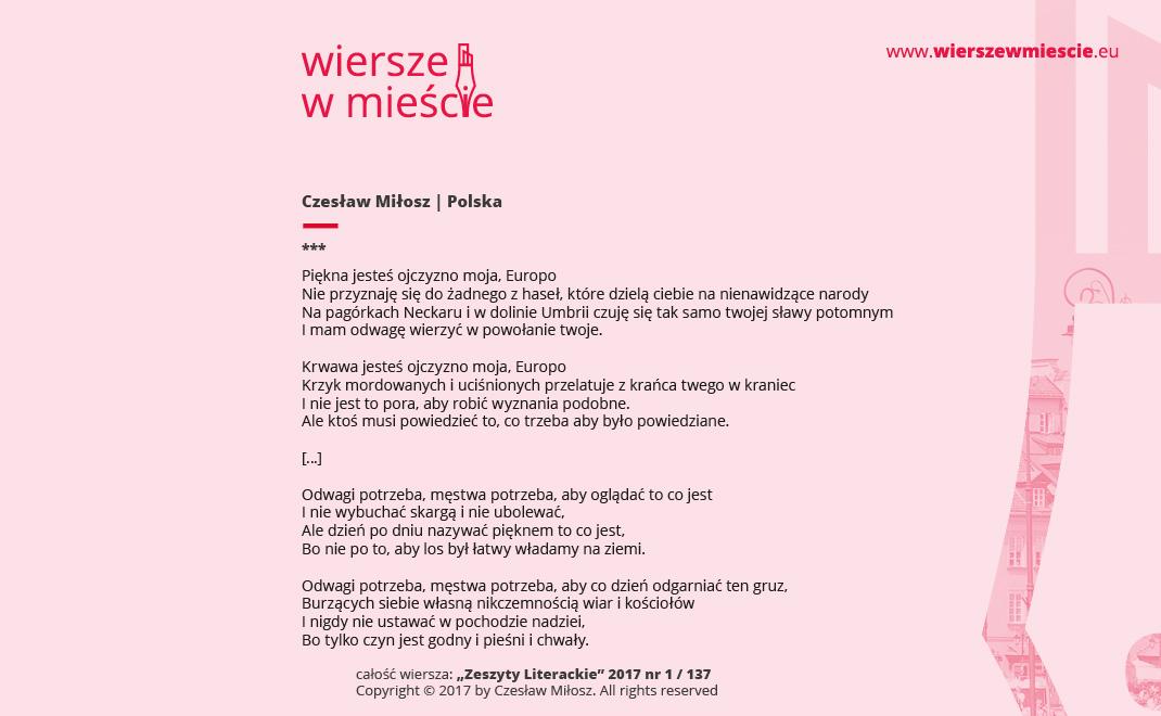 Wiersze W Mieście Promocja Poezji I Czytelnictwa Eunic Warszawa